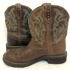 Justin boots gypsy 8.5 brown & blue